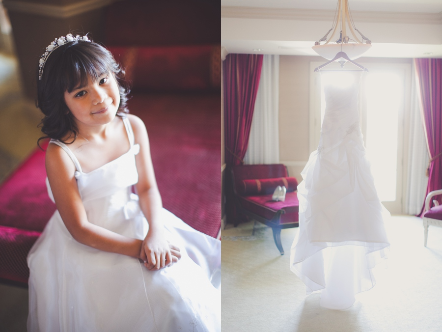 Las Vegas Wedding Photographer Getting Ready Pictures. Wedding dress and flower girl portrait.  JW Marriott Wedding Getting Ready Pics.