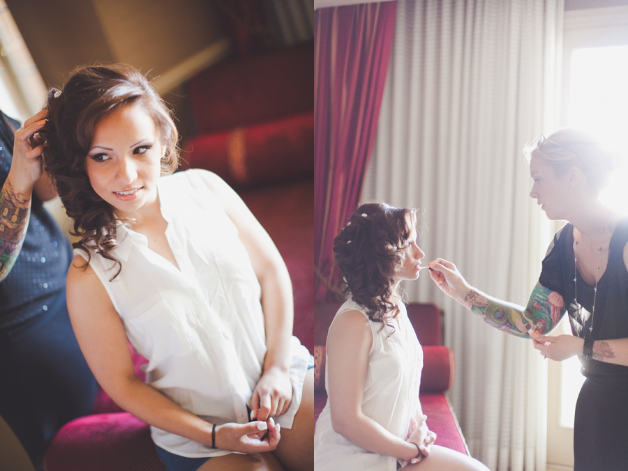 Las Vegas Wedding Photographer Getting Ready Pictures.  JW Marriott Makeup and Hair for bride.