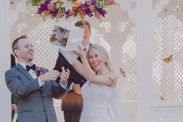 Las Vegas Wedding Photographer.  Butterfly Release after Ceremony with Associate photographer.